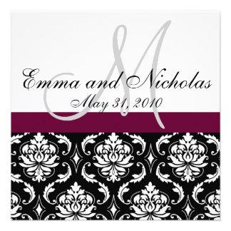 Wine Monogram Damask Wedding Invitation Front