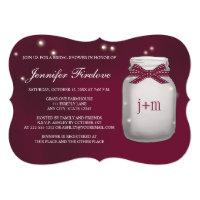 Wine Monogrammed Firefly Mason Jar Bridal Shower Card
