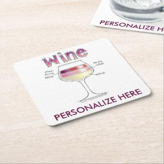 WINE, MORE WINE, EVEN MORE WINE SQUARE PAPER COASTER