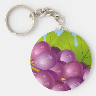 Wine n Grapes Basic Round Button Keychain