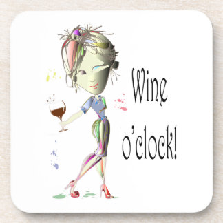 Wine o clock Humorous Wine saying gifts Beverage Coaster