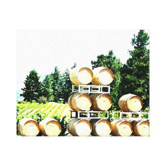 Wine Oak Barrels at Winery Canvas Print