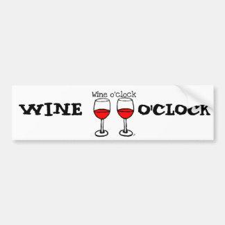 """""""WINE O'CLOCK"""" FUN RED WINE PRINT BUMPER STICKER"""