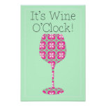 Wine O'Clock! Humorous Mod pattern poster