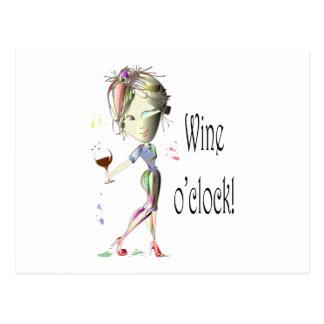 Wine o'clock! Humorous Wine saying gifts Postcard