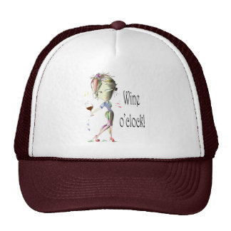 Wine o'clock! Humorous Wine saying gifts Trucker Hat
