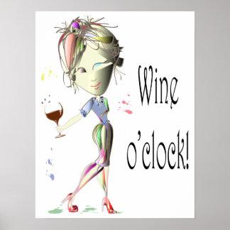 Wine o'clock humorous Wine saying Poster
