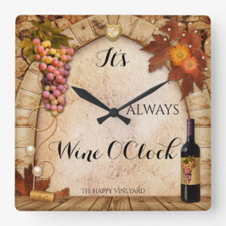 Wine O Clock Vineyard Or Wine Theme Clock