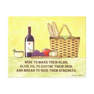 Wine, Oil and Bread Canvas Print