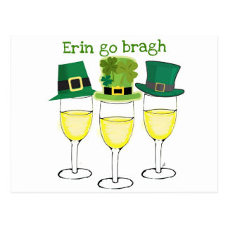 WINE PARTY ERIN GO BRAGH SAINT PATRICKS DAY POSTCARD