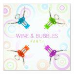 """Wine Party invitation 5.25"""" Square Invitation Card"""