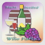 Wine Party Invitation envelope seal Square Stickers