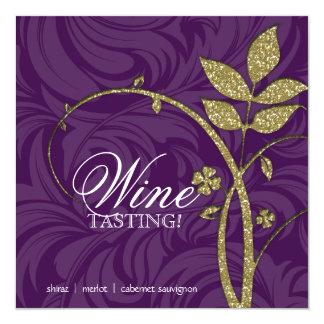 Wine Party Tasting Purple Gold Leaf Glitter Card