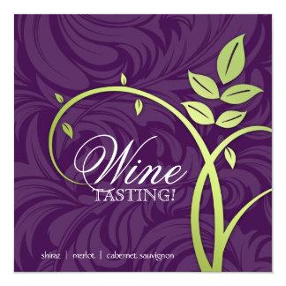 Wine Party Tasting Purple Green Leaf Marketing 5.25x5.25 Square Paper Invitation Card