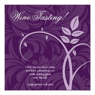 Wine Party Tasting Purple Leaf Marketing Card