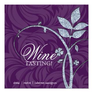 Wine Party Tasting Purple Silver Leaf Glitter 5.25x5.25 Square Paper Invitation Card