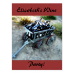 Wine party wagon of wine bottles postcards
