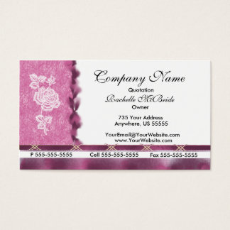 Wine Pink White Embroidery Rose Business Cards