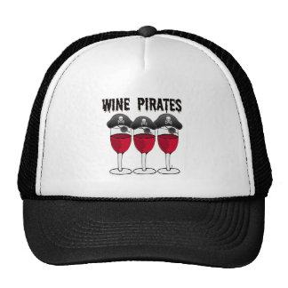 WINE PIRATES RED WINE GLASSES AND PIRATE PRINT TRUCKER HATS