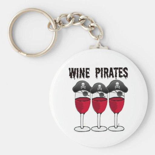 WINE PIRATES RED WINE GLASSES AND PIRATE PRINT KEYCHAIN
