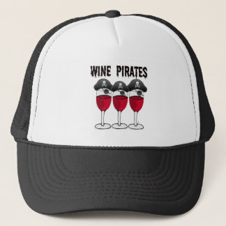 WINE PIRATES RED WINE GLASSES AND PIRATE PRINT TRUCKER HAT