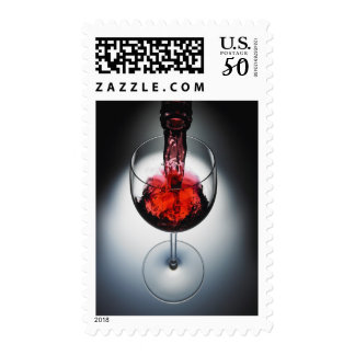 Wine poured in glass postage
