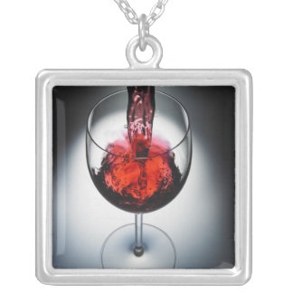 Wine poured in glass silver plated necklace