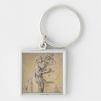 Wine-pourer with a Young Man (chalk) card Keychain