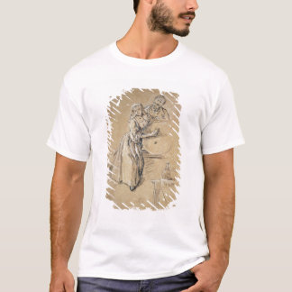 Wine-pourer with a Young Man (chalk) card T-Shirt