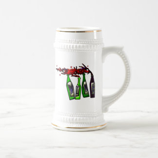 Wine Pouring from Bottles Beer Stein