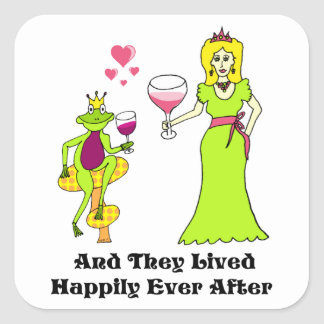 Wine Prince & Princess ...Happily Ever After Square Stickers