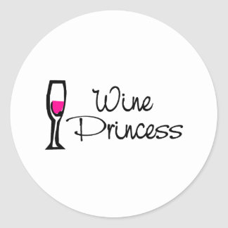 Wine Princess Classic Round Sticker