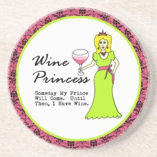 Wine Princess Someday My Prince Pink Damask Beverage Coasters