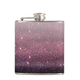 Wine Purple and Navy Blue Faux Glitter Gradient Hip Flask