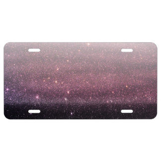 Wine Purple and Navy Blue Faux Glitter Gradient License Plate