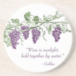 "Wine Quote coasters<br><div class=""desc"">Wine is sunlight,  held together by water...  beautiful wine quote by Galileo.  Perfect for a wine tasting party,  and great gift for wine lovers!</div>"