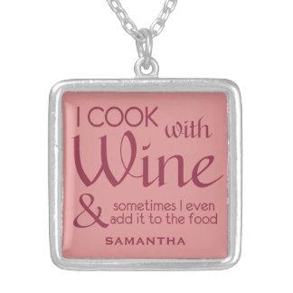 Wine Quote custom name necklace