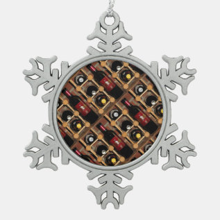 Wine Rack Abstract Snowflake Pewter Christmas Ornament at Zazzle