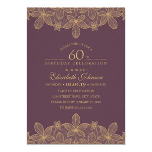 Wine Red 60th Birthday Party Unique Golden Lace Invitation