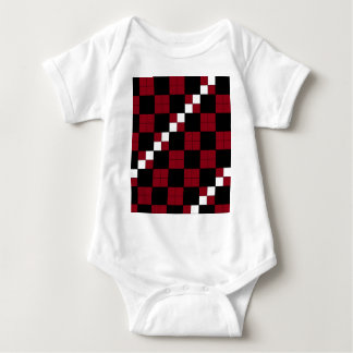 Wine Red and Black Checkerboard Classy Design Baby Bodysuit