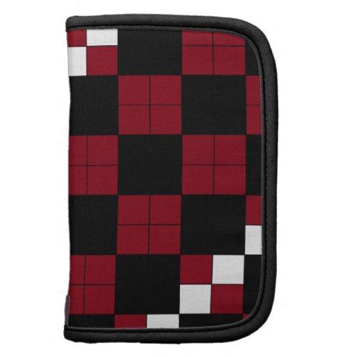 Wine Red and Black Checkerboard Classy Design Organizer