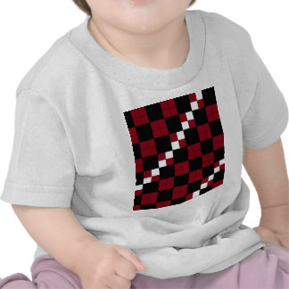 Wine Red and Black Checkerboard Classy Design T-shirt