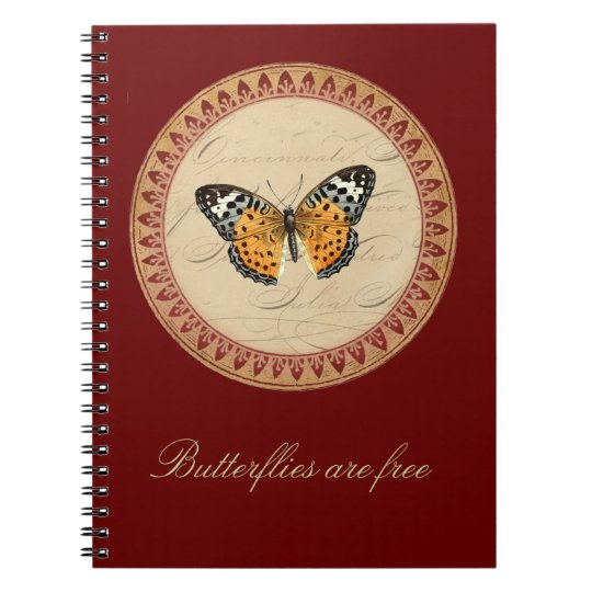 Wine Red Butterfly Round Notebook