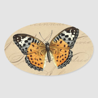 Wine Red Butterfly Round Oval Sticker