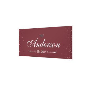 Wine Red Family Established Family Name Sign Canvas Print