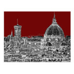 Wine red Florence dome Postcard