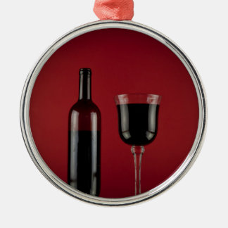 Wine red glass bottle metal ornament