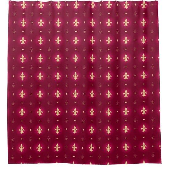 Wine Red & Gold Fleur De Lis Curtain