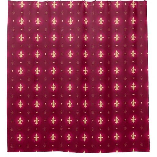 Wine Red Gold Fleur De Lis Curtain Shower Curtain Zazzle