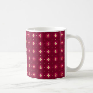 Wine Red & Gold Fleur De Lis Mug